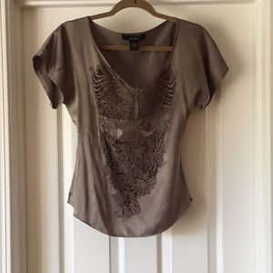 Gray Silk and Lace Tee